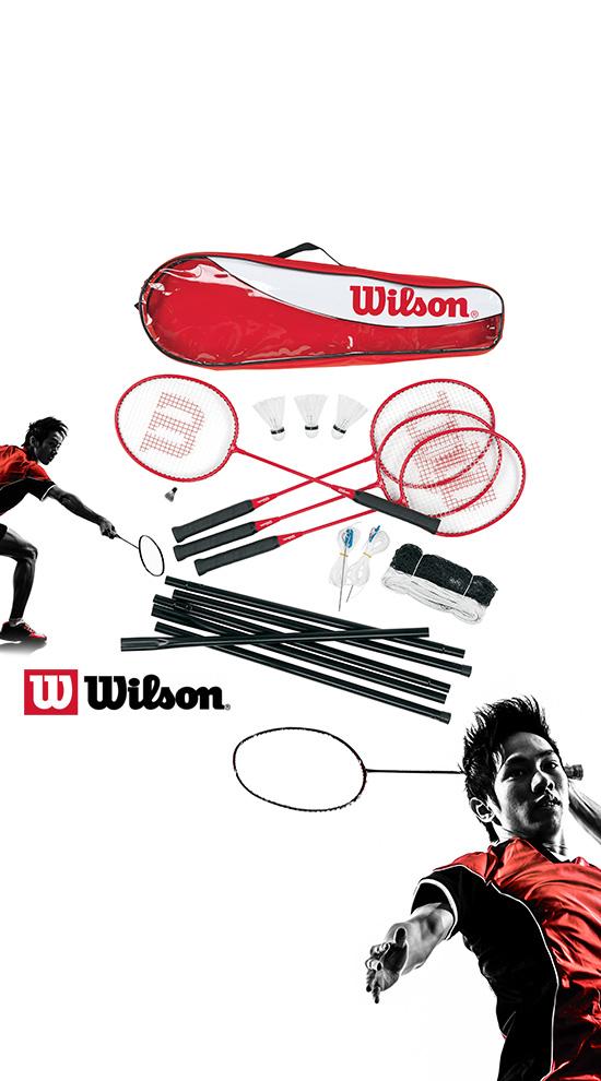 Stange /& Federb/älle Wilson Badminton Set Tour 2 Schl/äger Mit Netz