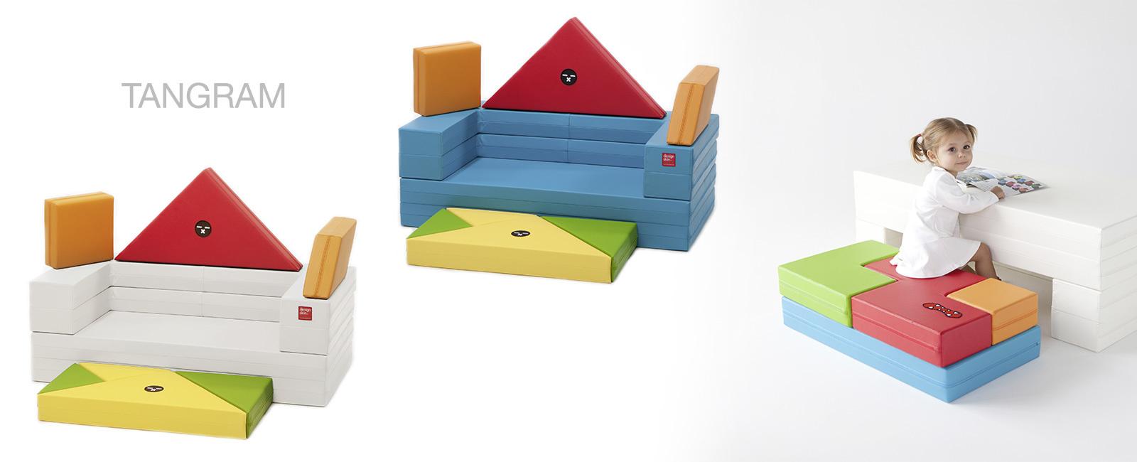 Qids - DESIGNSKIN Sofa ludique TANGRAM ou TETRIS